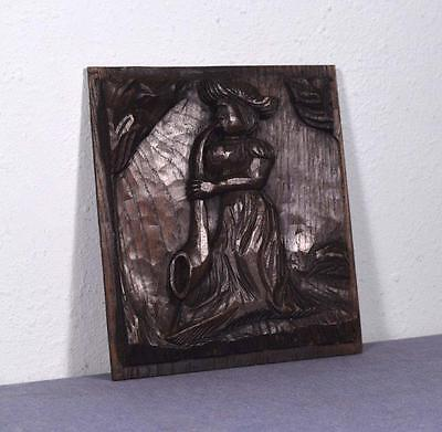 *French Hand Carved Antique Chestnut Wood Panel of a Woman with a Horn