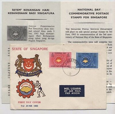 State Of Singapore Fdc  P/m 3-6-1962  Airmail Label, And  Leaflet