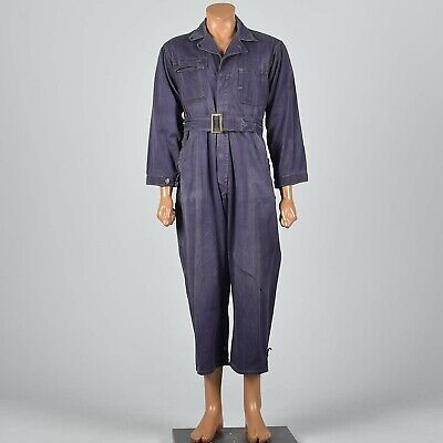 S/M 1940s Mens Purple Coveralls Cotton Twill Workwear Work Wear Belted 40s VTG