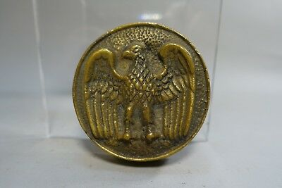 """pww119 BRASS EAGLE DESIGN ROUND PAPERWEIGHT 2 3/4"""" across"""