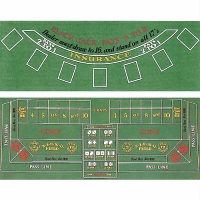 Blackjack and Craps 2 Sided Layout 36-Inch x 72-Inch New