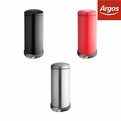 Addis 30 Litre Retro Cushion Close Bin - Choice of Black/Red/Stainless Steel.