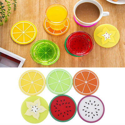 6PCS/Set Fruit Coasters Silicone Cup Holder Mat Placemat Pad Colorful Drinks #e