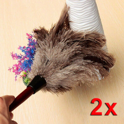 2X Anti-static Ostrich Feather Fur Brush Duster Dust Cleaning Tool Wood Handle S