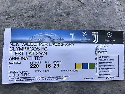 Biglietto Ticket Juventus Olympiacos Fc Champions League 2017-2018 Type Digital
