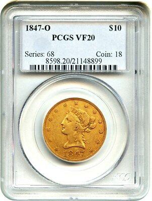 1847-O $10 PCGS VF20 - Popular New Orleans Issue - Liberty Eagle - Gold Coin