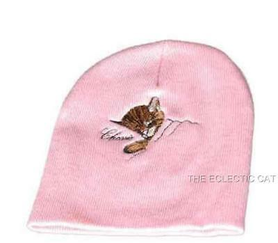 Chessie Cat Kitten C & O Railroad Mascot Pink Knit Beanie Hat Winter Cap