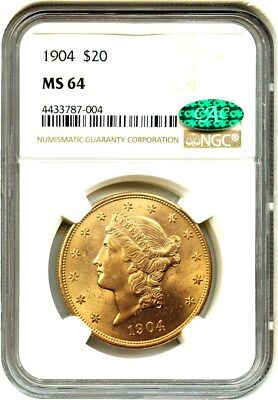 1904 $20 NGC/CAC MS64 - Liberty Double Eagle - Gold Coin