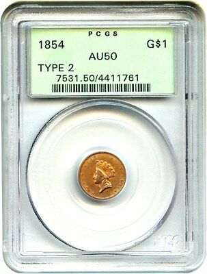 1854 G$1 PCGS AU50 (Type 2, OGH) Scarce Type 2 Variety - 1 Gold Coin