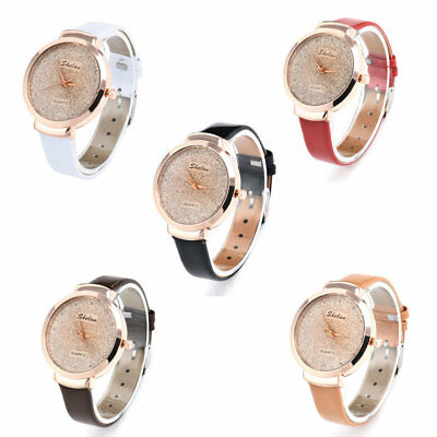 Fashion Women's Casual PU Leather Watch Luxury Analog Quartz Crystal Wristwatch