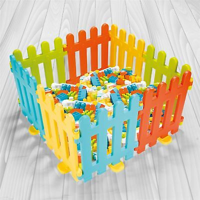 Vinsani 8 Colourful Interlocking Plastic Fence Play Panels for Kids 6 months +