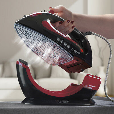 Easy Steam 2200W 2 in 1 Corded/Cordless Ceramic Red Steam Iron Ceramic Soleplate