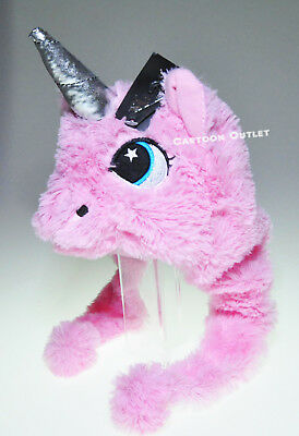 Unicorn Beanie Hat Girl Plush Unicorn Head Lt Pink Pom Poms Fairytale Rainbow Ne