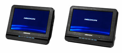 "MEDION LIFE E72053 portabler Twin DVD Player 2x 17,7cm/7"" Displays Auto Xvid USB"