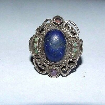 Antique Silver Ring Set With Lapis Lazuli, Turquoise And Amethysts. Oriental Chi