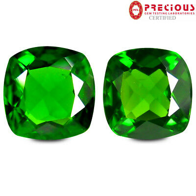 2.04 ct (2pcs) PGTL Certified  MATCHING PAIR  Cut (6 x 6 mm) Chrome Diopside