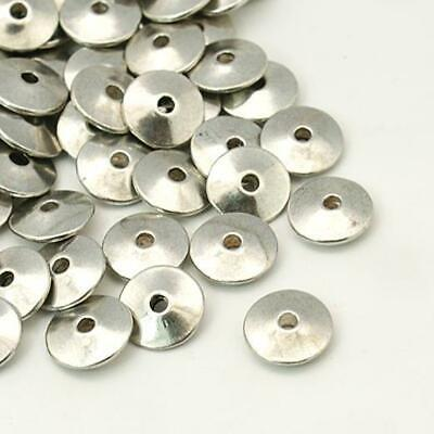 TOP QUALITY 10 LARGE TIBETAN SILVER FLAT DISC SPACER BEADS 12mm ( TS32 )