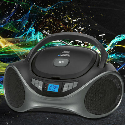 CD Player Bluetooth Boombox MP3 Stereo Radio USB AUX IN Musik Anlage tragbar AEG