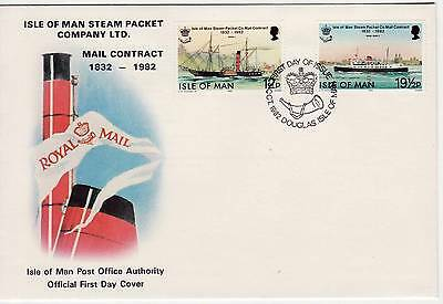 GB Stamps First Day Cover IOM Steam Packet Mail Contract SHS Crown and Horn 1982