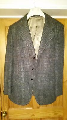 "True Vintage Dunn Co Green Harris Tweed Crofters Blazer Jacket Size 40"" Short M"
