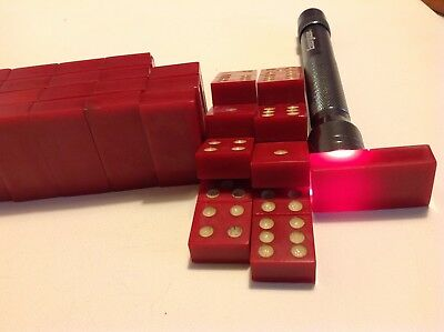 Antique Art Deco cherry Amber color Bakelite Domino blocks 28 parts 387 gram