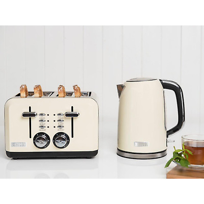 Haden Perth Cream Kettle and 4 Slice Toaster Set with wide slots