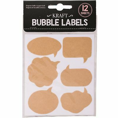 72 x Self Adhesive Kraft Bubble Labels Jars Sticker Art Craft Scrapbooking