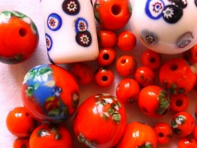 Vintage MILLEFIORI glass beads from MURANO Italy - 2 large WHITE and 35 ORANGE