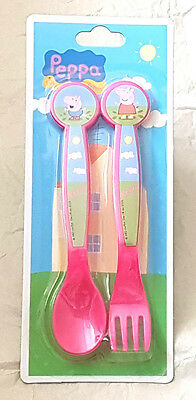 Peppa Pig Character Fork & Spoon Cutlery  Set   3 Yrs + New