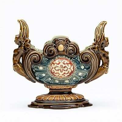 Superb Antique Bohemian Majolica Figural Vase 19Th C.
