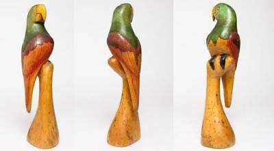 """Vintage Tropical Parrot Carved Wood Figure 16""""h. W/ Pyrographic Details"""