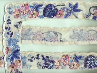 """VINTAGE SEQUINS GLASS BEADED HAND EMBROIDERY 2"""" x 6 YARD FLORAL LACE TRIM RIBBON"""