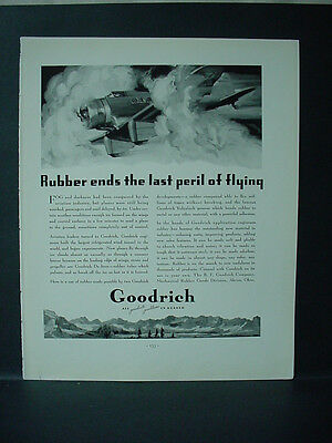 1934 Goodrich Airplane Tire Rubber ends Peril of Flying Vintage Print Ad 11596