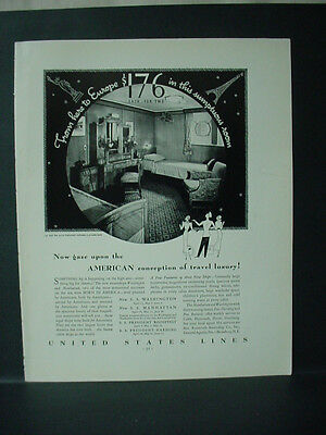 1934 United States Lines Cruise Line Full Page Vintage Print Ad 11611