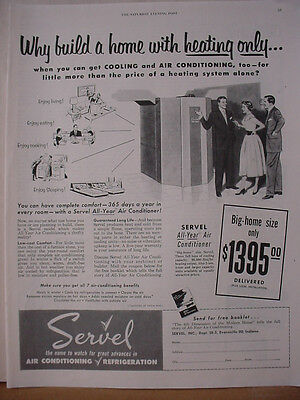 1953 Servel Air Conditioning Refrigeration for Homes Vintage Print Ad 10455