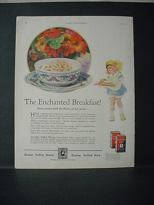 1924 Quaker Puffed Wheat + Rice Cereal Girl Enchanted Breakf. VTG Print Ad 11760
