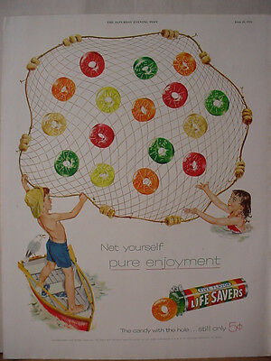 1955 Life Savers Lifesavers Candy Kids fishing with Net Vintage Print Ad 10663