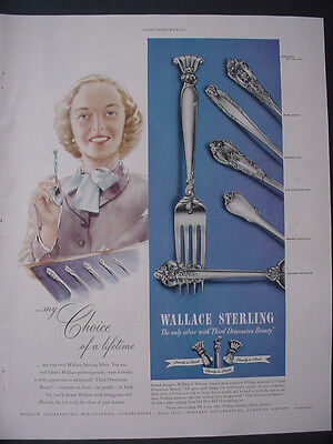 1951 Wallace Sterling Silverware Romance of the Sea etc Vintage Print Ad 12279