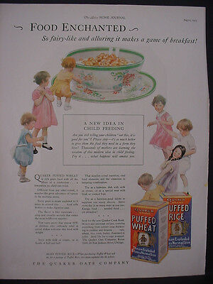 1925 Quaker Puffed Wheat + Rice Cereal Kids Food Color Vintage Print Ad 11815