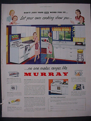 1951 Murray Household Appliances Stove Range Cooking Vintage Print Ad 12268