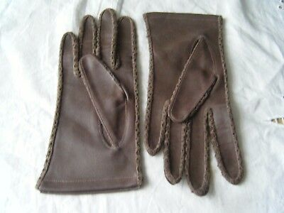 Vintage Ladies Faux Leather Gloves, Brown, Size 7 1/2