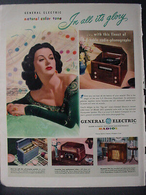 1947 Hedy Lamarr General Electric Radio + Phonographs Vintage Print Ad 12663