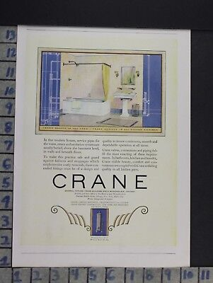 1922 Crane Bathroom Tub Sink Interior Design Home Decor Vintage Art Ad  Cn80