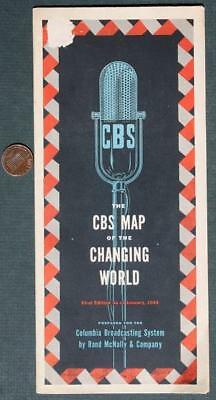 1948 Muncie,Indiana WLBC CBS Radio Map of the Changing World-VINTAGE & RARE!