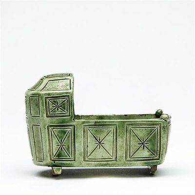 Rare Antique English Green Glazed Pottery Cradle 18Th C