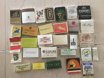 Lot of 30 Vintage Wood Stick Match Boxes Match Covers from Restaurants & Hotels