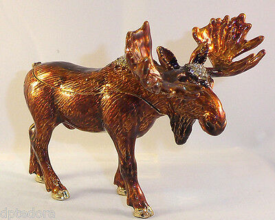 Moose Pewter Bejeweled Hinged Trinket / Jewelry /  Pill Box