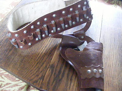 Vintage Leather Cowboy Holster With Wooden Bullets