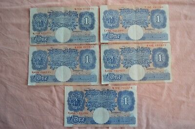 Bank of England 5 x PEPPIATT One Pound £1 Notes: W70H, T19E, R33E, N45H & N20E