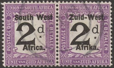 South West Africa 1923 KGV Postage Due 2d Black + Viol Opt Pair Used SG D3 c £55